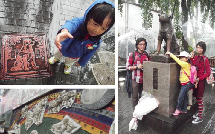 Plat besi Hachiko di trotoar, mural Hachiko di dinding luar stasiun & karangan bunga utk Hachiko