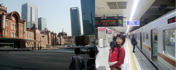 Kiri: Gedung Tokyo Station yang bergaya Eropa lama kontras dengan gedung-gedung modern di sekelilingnya. Kanan: setiap sudut stasiunnya bersih!