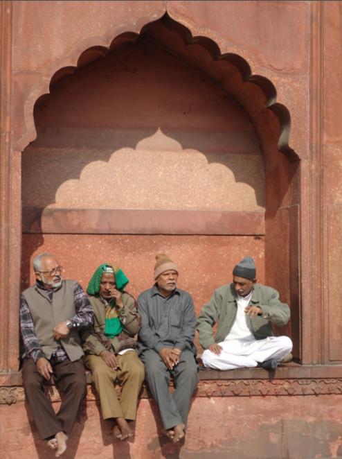 just outside Masjid Jami in New Delhi, India