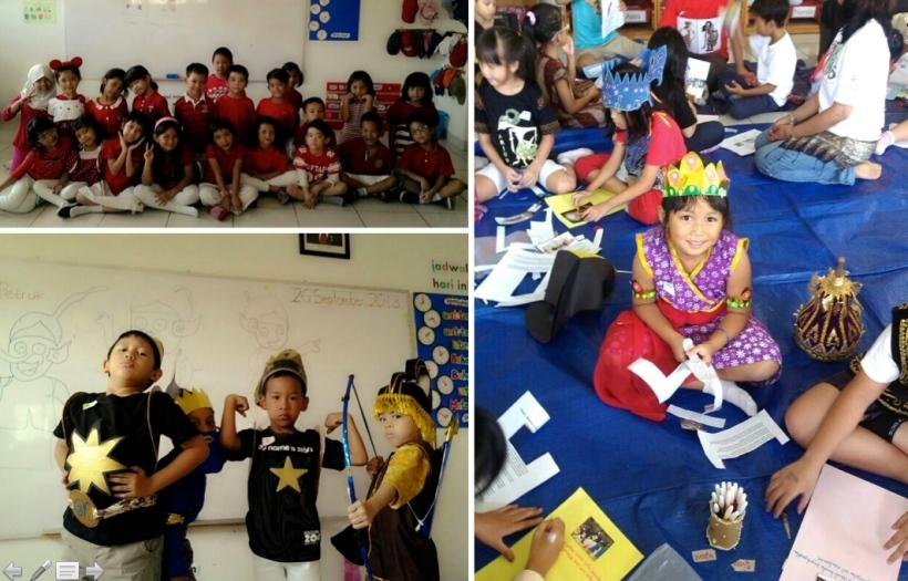 Pakai baju merah-putih pas 17 Agustus. Lalu tema Wayang, berkreasi pakai asesoris atau kostum wayang. Anak-anak kerja kelompok bikin kolase tentang wayang.