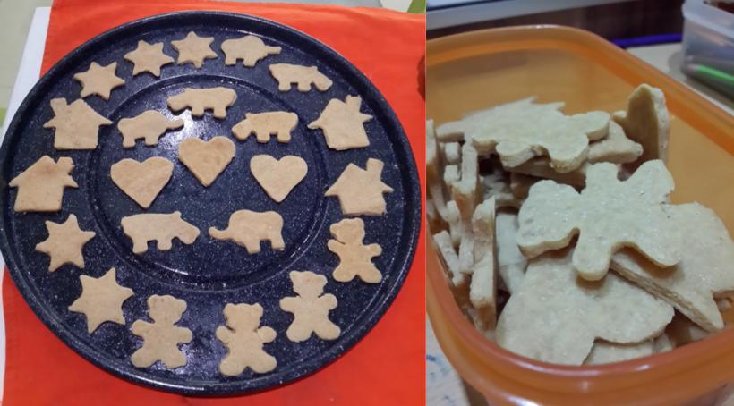 "Sambil membentuk cookiesnya, kami mendongeng, ""Ada tiga beruang di depan rumah, mereka ketemu gajah yang lagi jalan-jalan sama badak,""...dst"